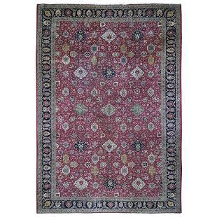 Oversized Red Vintage Persian Tabriz All Over Design