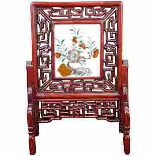 Chinese Republic Porcelain Rosewood Table Screen