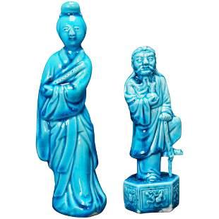 Chinese Republic Pair of Turquoise Figurines Circa 1920