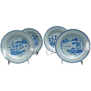 Set Four 18th C Chinese Export Blue and White Bowls
