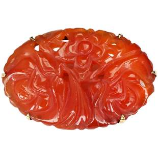 Chinese Qing/Republic 10K Gold Carved Carnelian Pin