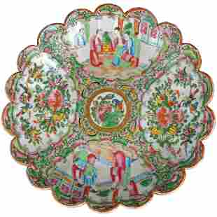 Chinese 2nd Half 19th C Rose Medallion Shallow Bowl
