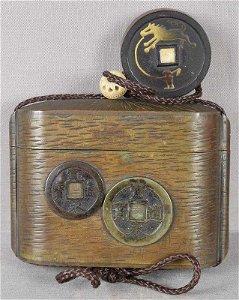 19c inro Japanese tobacco box COINS & COIN horse