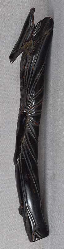 19c black coral Japanese pipe case KISERUZUTSU lotus