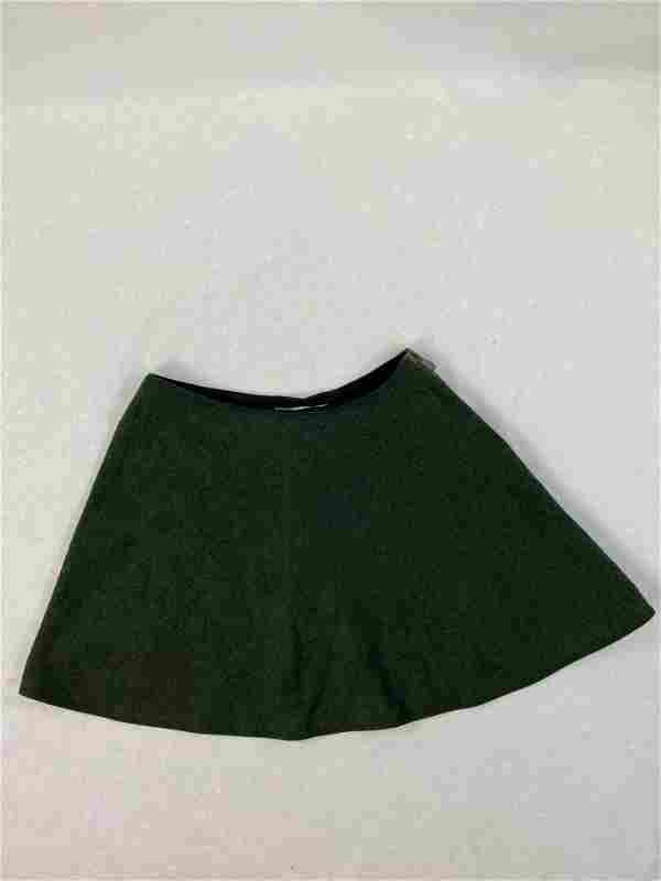 Balenciaga Paris Green Wool Mini Skirt, Size 36