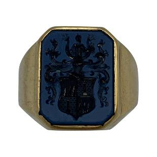 Victorian Yellow Gold and Carved Stone Family Crest