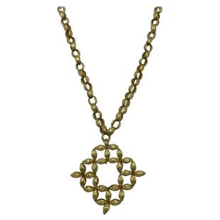 Vintage Yellow Gold Oval Link Chain Necklace w/ Pendant