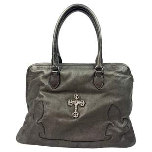 Vintage Chrome Hearts Grey Leather Sterling Silver Tote