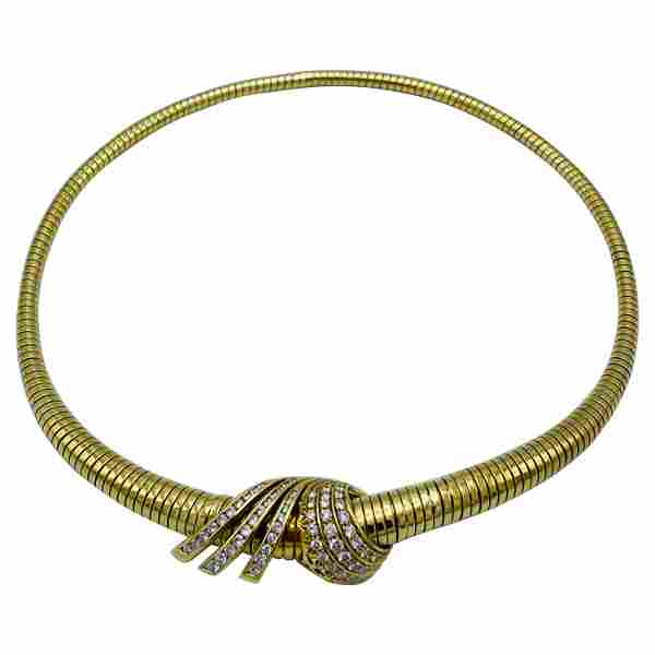 Vintage Yellow Gold and Diamond Tubogas Choker Necklace