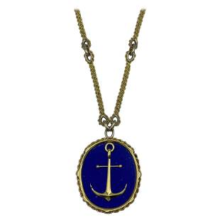 Vintage Piaget Yellow Gold and Lapis Anchor Penchant