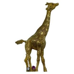 Vintage Cartier Yellow Gold Diamond and Ruby Giraffe