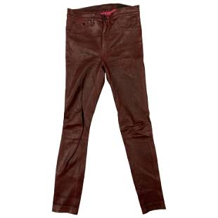 Rag & Bone Burgundy Lamb Leather Pants, Size 27