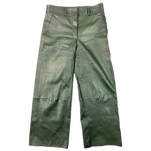 Inès & Maréchal Green Leather Pants, Size 40
