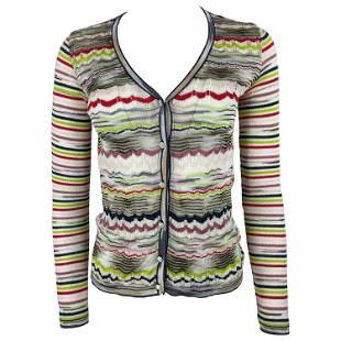 Vintage MISSONI Multicolored Striped Cardigan Top, Size