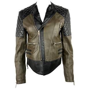 Vintage Balenciaga Black and Olive Moto Leather Jacket,