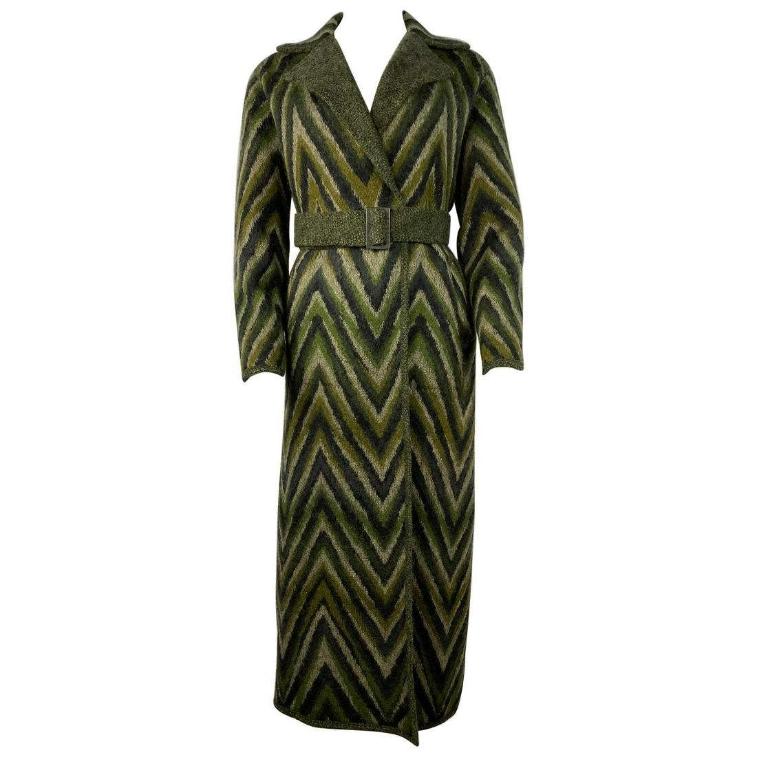 Vintage Missoni Green Striped Wool Blend Maxi Coat