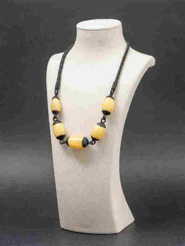 Baltic amber & leather necklace