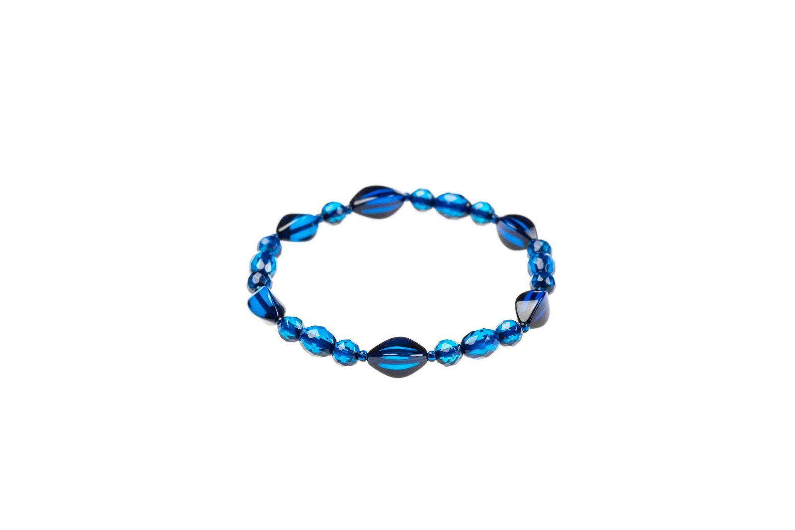 Azure Amber Bracelet, Handmade ball & olive shaped