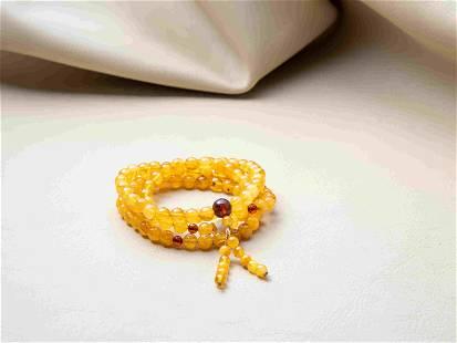 100% Natural Yellow Baltic Amber Mala beads 108