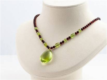 Green & Baltic amber necklace with droplet pendant
