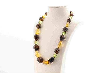 Natural Baltic and Green amber necklace