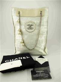 """""""CHANEL"""" Bag in canvas and white leather"""