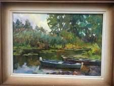 Oil painting River bank Pivtorak Sergey