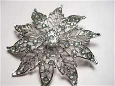 Vintage Very Pretty Silvertone Filagree Large Blossom