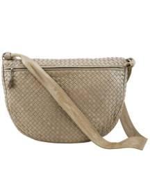Bottege Veneta Taupe Leather Intrecciato Crossbody Bag