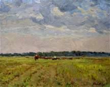 Oil painting In field Sevastyanov Viktor Grigorievich