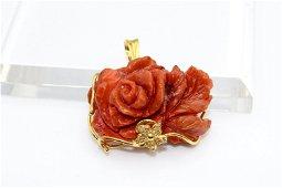 Mediterranean Coral Carved Rose, Hand Carved Flower,