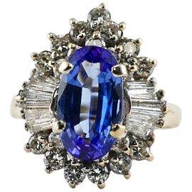Diamond Tanzanite Ring 14K Gold Vintage Estate