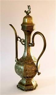 A Chinese Islamic-Market Hexogonal Bronze Ewer