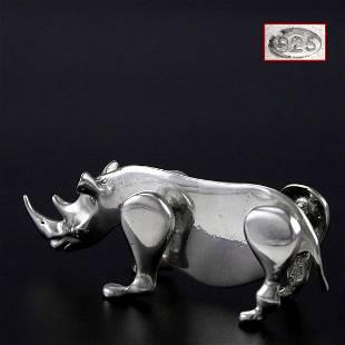 Italian sterling silver sculpture decoration-rhinoceros