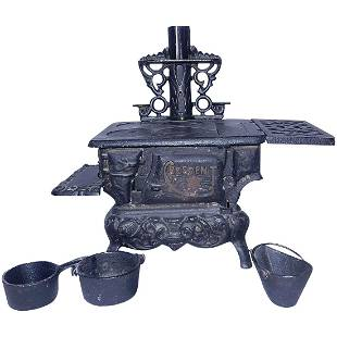 Vintage Cast Iron Original Crescent Toy Stove with