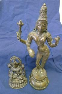 Set of 2 Brass or bronze (?) goddess figures