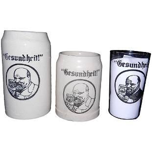 Vintage GESUNDHEIT Germany 1930s Beer Steins and Glass
