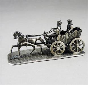 German sterling silver sculpture-carriage and horse