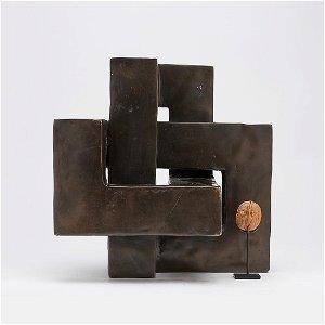 Very Heavy Cubist Sculpture - The Endless Knot - Bronze