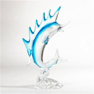 Venetian blown glass swordfish sculpture