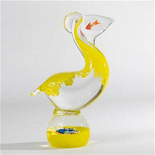 Venetian blown glass pelican sculpture