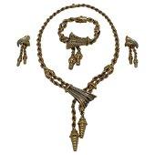 Retro Yellow Gold and Diamond Tassel Necklace, Bracelet