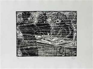Fernando Aceves Humana, signed Woodcut, 2007