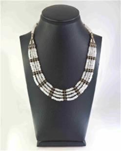 White quartz and silver necklace