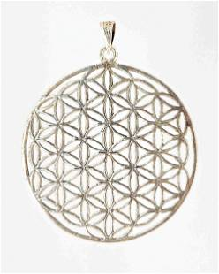 Round sterling silver flower of life pendant