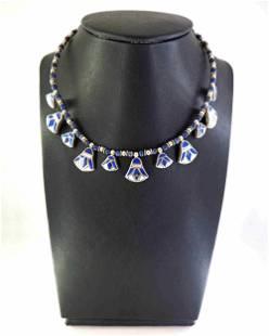 Egyptian lotus - lapis lazuli and silver necklace