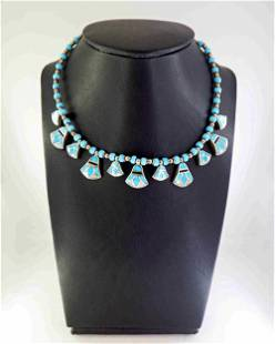 Egyptian lotus - turquoise and silver necklace