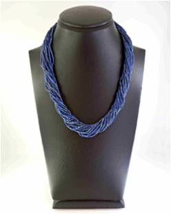 Necklace with twisted strands of lapis lazuli and