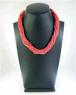 Necklace with twisted strands of coral and silver
