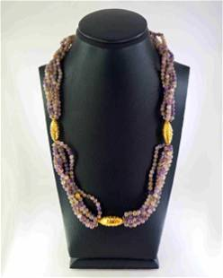 Amethyst and 18K gold necklace